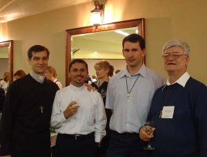 L to R: Maurizio Giorgianni (Italian OMI in Korea), Gen Oliveira (Brazilian OMI in Japan), Andrzej Jastrzebski (Polish OMI in the Oblate General Administration in Rome) and Daniel LeBlanc, Oblate representative at the United Nations.