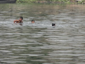 Children Swimming in the polluted Buriganga River