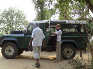 Fr Joseph Gomes, OMI and Emma Herman with the faithful Land Rover