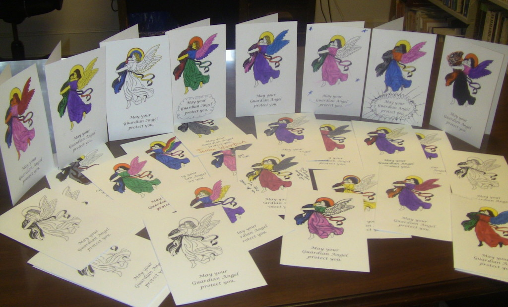 Cards for migrants families in detention sent by Fr. John Cox OMI and 32 church students.