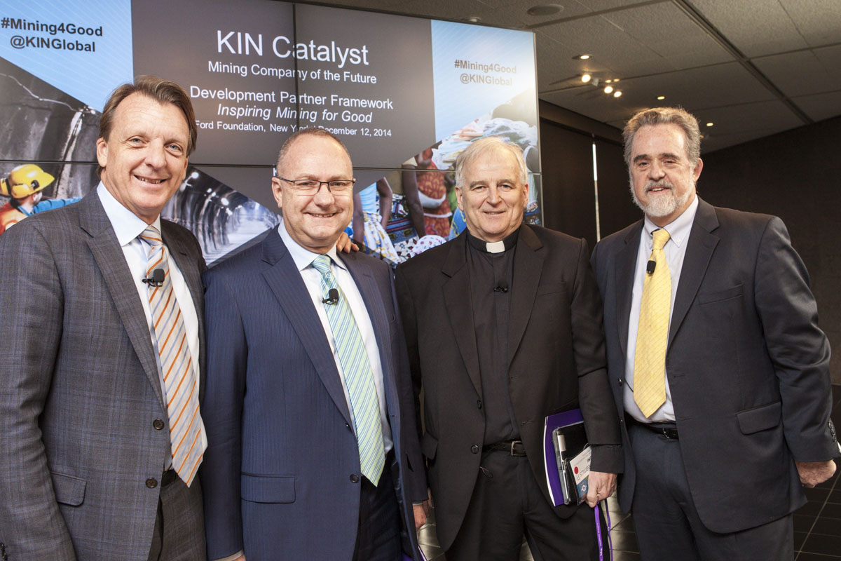 Peter Bryant, Senior Fellow, Kellogg Innovation Network (KIN) - Moderator; Mark Cutifani, CEP Anglo-American; Fr. Seamus Finn, OMI, Missionary Oblates JPIC Office Director; and Ray Offenheiser, President Oxfam America